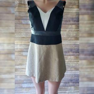 Ann Taylor Dress Faux Leather Trim Colorblock 00P